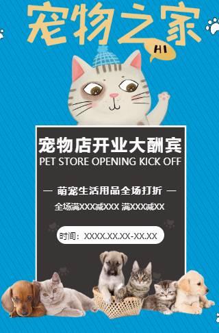 简约大气宠物店萌宠之家生活用品促销开业模板